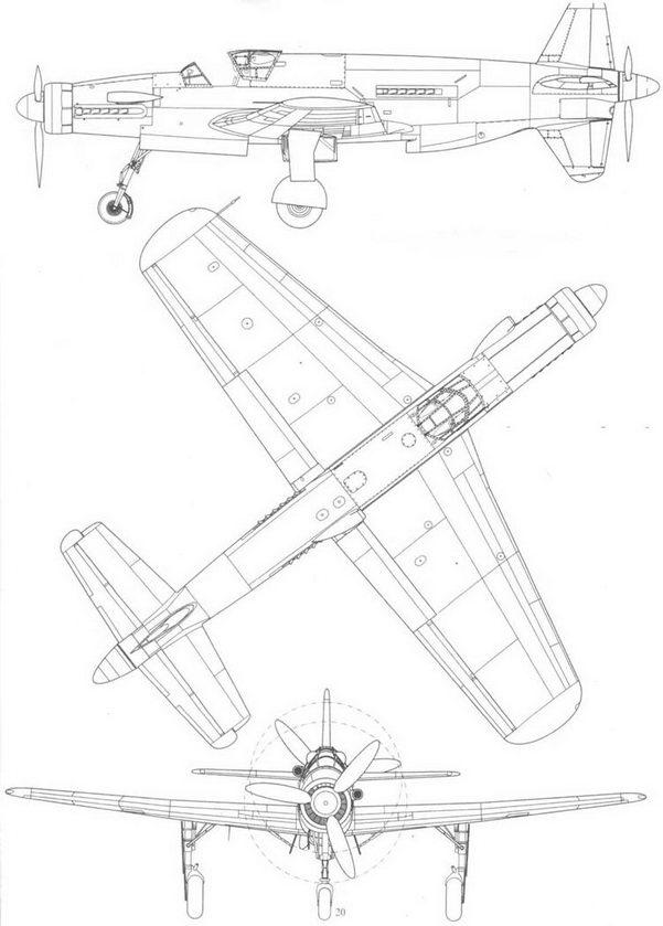 Прототип Do 335V3 в трех проекциях: слева, сверху и спереди.
