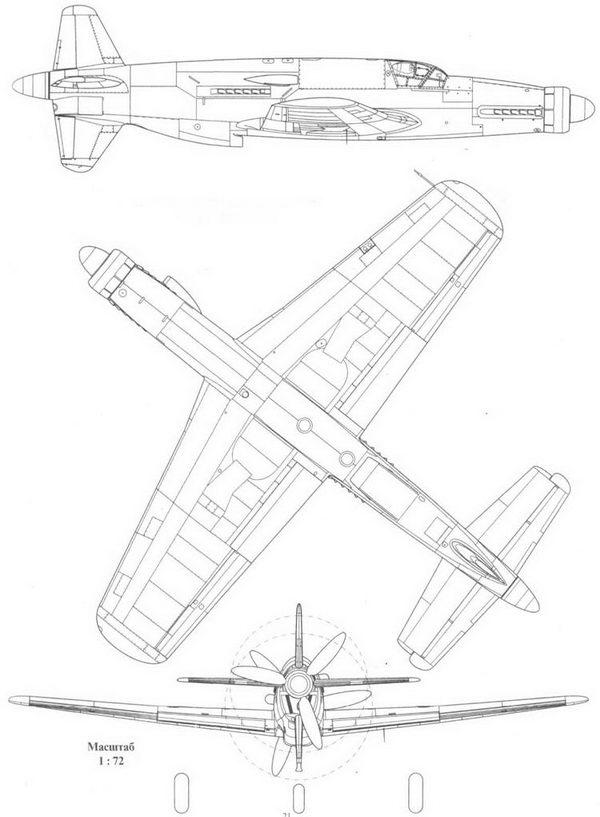 Прототип Do 335V3 в трех проекциях: справа, снизу и сзади.