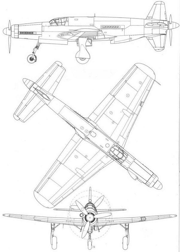 Do 335V7, прототип с двигателем Jumo 213, вид слева, сверху и спереди. Реконструкция.
