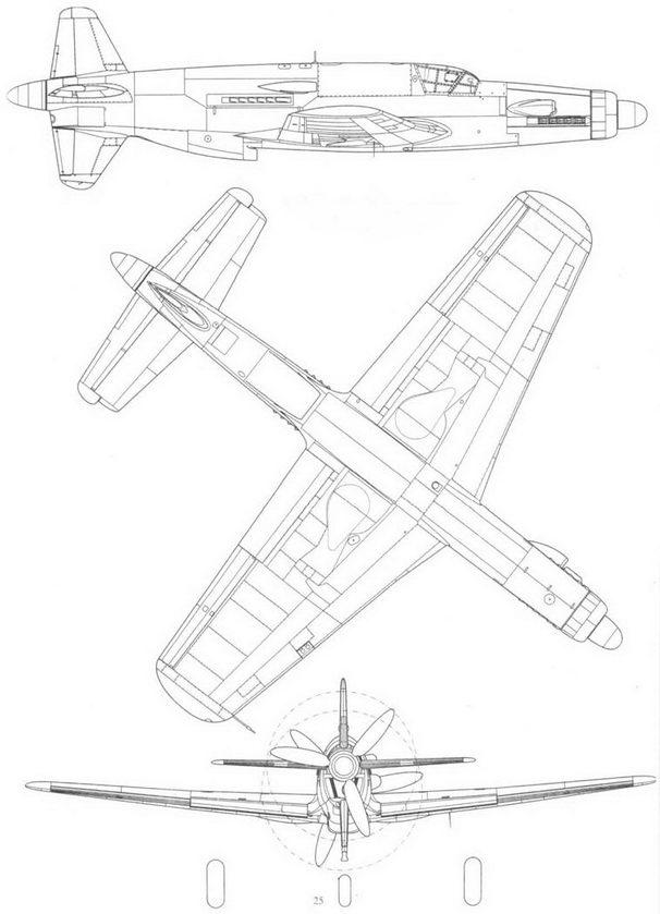 Do 335V7, прототип с двигателем Jumo 213, вид справа, снизу и сзади. Реконструкция.