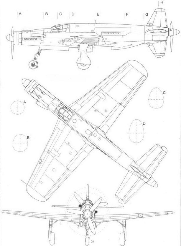 Предсерийный Do 335А-0, вид слева,сверху и спереди.