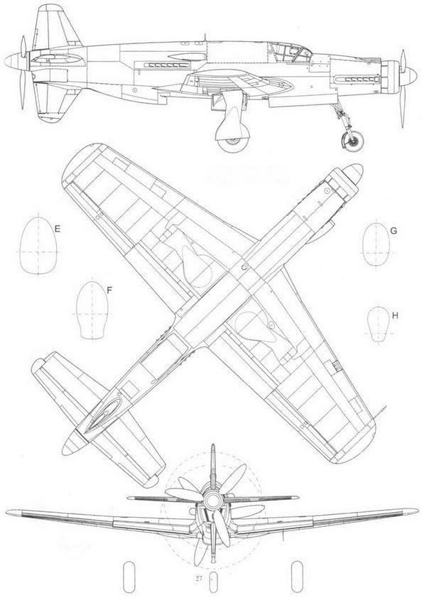 Предсерийный Do 335А-0, вид справа, снизу и сзади.