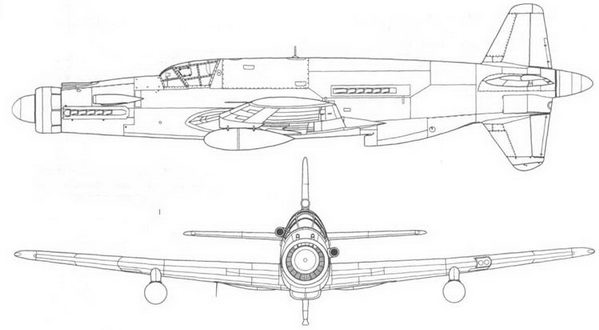 Do 335A-1 с подвесными топливными баками под крыльями. Вид сбоку и спереди.