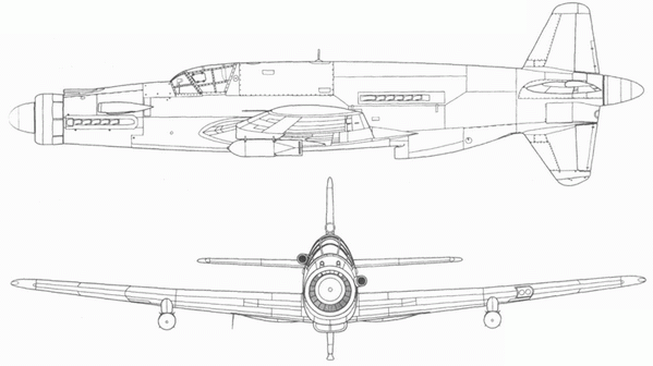 Do 335А-1 с двумя бомбами SC 250 на внешней подвеске. Вид сбоку и спереди.