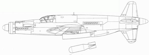 Do 335А-2, бомбардировочная модификация. В бомбоотсеке 1000-кг бомба SD 1000.