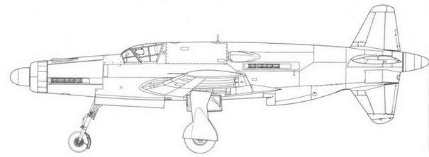 Do 335А-5 – модификация, оснащенная двигателем Jumo 213. Вид сбоку и спереди. Проект, реконструкция.