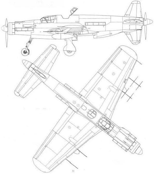 Do 335A-6 – ночной истребитель. Вид слева и сверху. Проект, реконструкция.