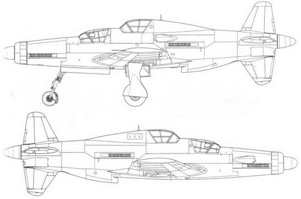 Do 335A-10 – учебная модификация с двигателями Jumo 213. Вид справа и слева. Проект, реконструкция.