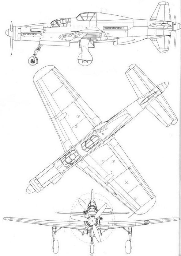 Do 335A-12, вид справа, сверху и спереди.