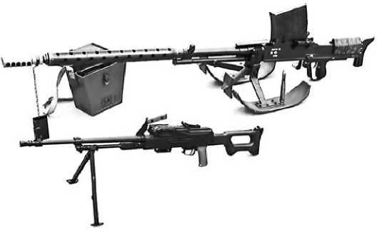 Противотанковое ружье LahtiL-39 и пулемет ПК.