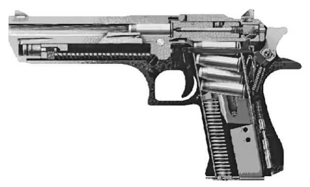 Схема-разрез пистолета IMI Desert Eagle.