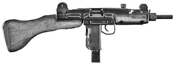 Пистолет-пулемет Uzi с деревянным прикладом.
