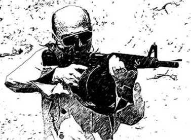 Максвелл Атчиссон с первым прототипом своего штурмового ружья.