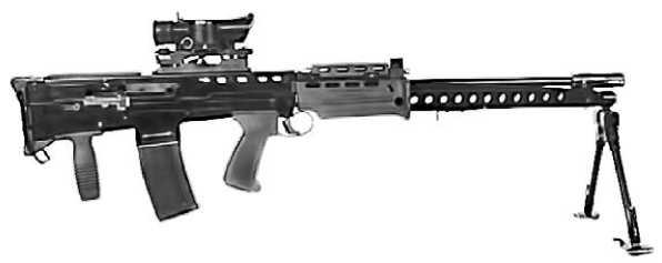 Легкий пулемет поддержки L86 с прицелом SUSAT.