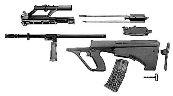 Неполная разборка винтовки Steyr AUG.
