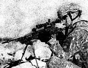 Американский десантник, вооруженный винтовкой M14EBR.