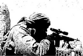 Израильский снайпер с винтовкой М14.