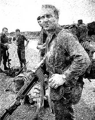 Австралийский солдат, вооруженный пулеметом М60.