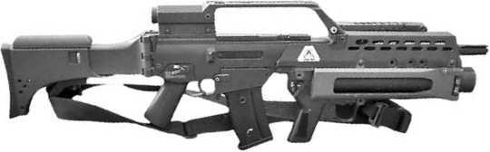 Подствольный гранатомет AG36, установленный на штурмовую винтовку G36.