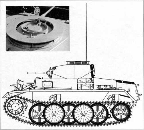 Боковая проекция танка Pz.Kpfw.I Ausf.C (VK 601). Масштаб 1:35. Рядом снимок уцелевшей башни легкого танка Pz.Kpfw.I Ausf.C, находящейся в экспозиции военного музея Белграда.