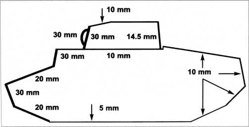 Схема бронирования танка Pz.Kpfw.I Ausf.C (VK 601).