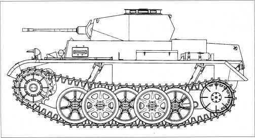 Боковая проекция прототипа легкого танка Pz.Kpfw.II Ausf.G3 (VK 901). Масштаб 1:35. В отличие от фото внешние катки машины здесь иной конфигурации. Известно, что танки Pz.Kpfw.II строили в трех модификациях: Ausf.GI/G2/G3. Вероятно это поздняя машина Ausf.G3 с бензиновым двигателем «Майбах» HL 66Р мощностью 180 л.с. при 3200 об./мин.