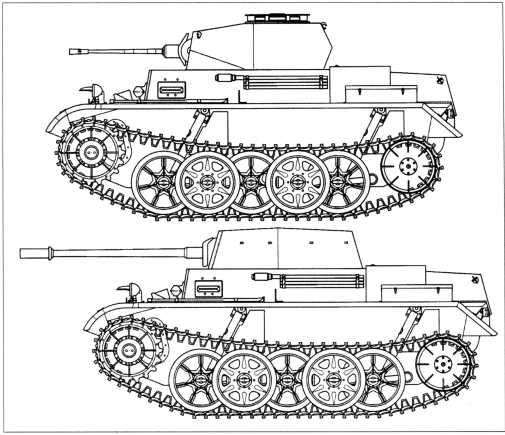 Боковые проекции германских легких танков. Вверху — прототип танка Pz.Kpfw.II Ausf.M (VK 1301) с 20-мм пушкой, внизу — прототип танка Pz.Kpfw.II Ausf.M (VK 903b) с 50-мм артсистемой KwK 39/1.
