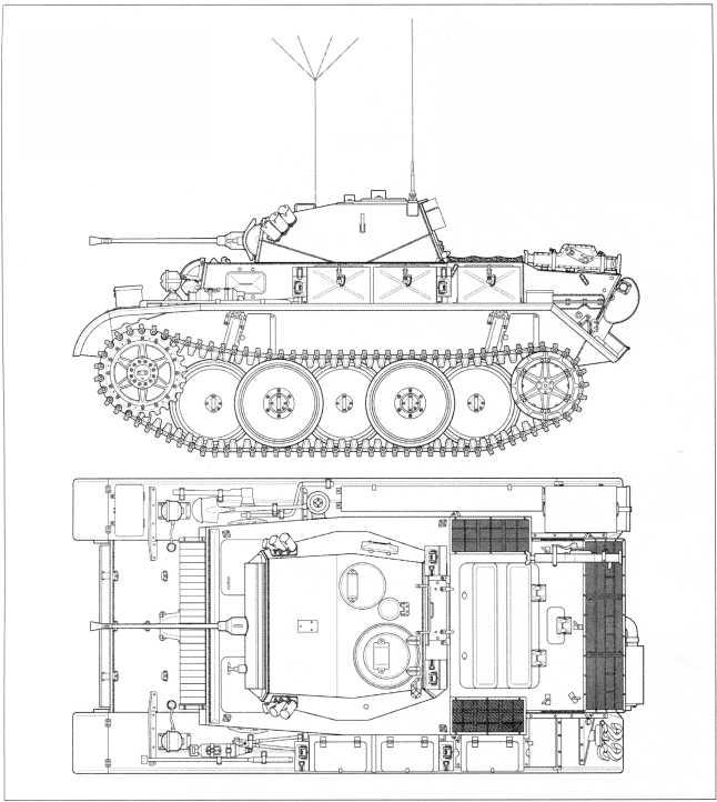 Чертежи легкого танка Pz.Kpfw.II Ausf.L «Лухс» в комплектации 4 тд советско-германского фронта с дополнительным бронированием передней части корпуса. Виды сбоку и сверху. Масштаб 1:35. Передний дополнительный броневой лист толщиной 20 мм стал причиной переноса дополнительных запасных траков танка на верхнюю бронеплиту передней части корпуса. Здесь показаны только кронштейны для их крепления. Также на тыльной стороне башни танка размещались два контейнера для дополнительных пулеметных лент, на которые нередко наносились цифры тактического номера боевой машины.