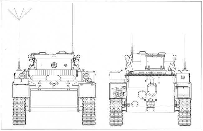Чертежи легкого танка Pz.Kpfw.II Ausf.L «Лухс» в комплектации 4 тд советско-германского фронта с дополнительным 20-мм бронированием передней части корпуса. Виды спереди и сзади. Масштаб 1:35.