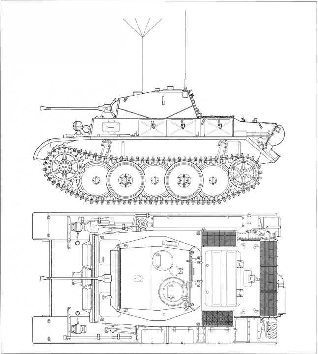 Чертежи легкого танка Pz.Kpfw.II Ausf.L «Лухс» в стандартной комплектации, используемой на Западном фронте. Виды сбоку и сверху. Масштаб 1:35. На башнях танков, применявшихся на Западе, нередко (по бортам башни) размещались специальные крепления- гнезда для двух стандартных топливных канистр. Также в отдельных случаях использовались иные ящики для снаряжения.