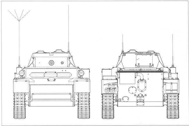 Чертежи легкого танка Pz.Kpfw.II Ausf.L «Лухс» в стандартной комплектации, используемой на Западном фронте. Вид спереди и сзади. Масштаб 1:35.