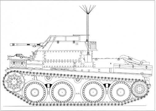 Боковая проекция разведывательного танка Sd.Kfz. 140/1.