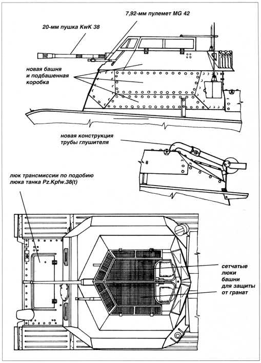 Схема с конструктивными отличиями разведывательного танка Sd.Kfz.140/1.