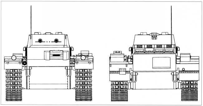 Чертежи танка поддержки пехоты Pz.Kpfw.I Ausf.F (VK 1801). Масштаб 1:35. Корпус и башня танка Pz.Kpfw.l Ausf.F были сварные. Цилиндрическая башня снаружи имела «юбку», придававшую ей коническую форму. На крыше башни было смонтировано пять перископических приборов наблюдения. Два 7,92-мм пулемета MG 34 прикрывались броневыми кожухами.