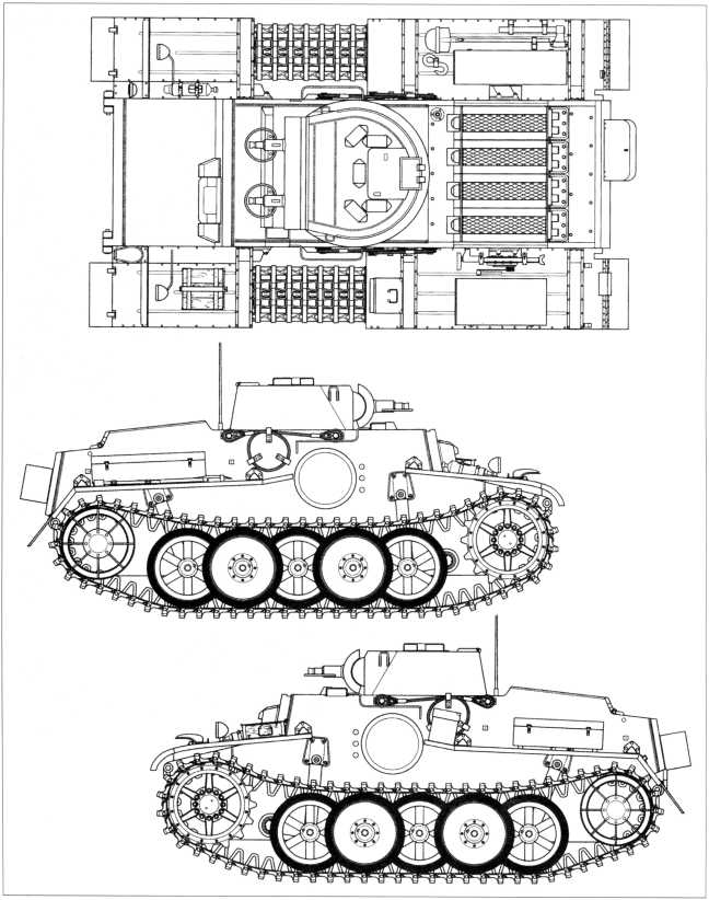 Танк поддержки пехоты Pz.Kpfw.I Ausf.F. Виды сверху и сбоку. Масштаб 1:35.