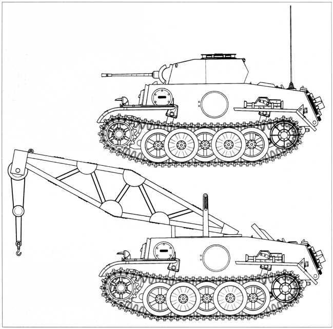 Боковые проекции танка Pz.Kpfw.II Ausf.J, а также ремонтного крана, построенного на его базе. Танк непосредственной поддержки пехоты Pz.Kpfw.II Ausf.J был выпущен малой серией в 30 экземпляров. Судя по фотографиям, радиостанции устанавливались не на всех машинах, к тому же на танках этого типа монтировали различное радиооборудование. БРЭМ Bergerpanzer VK 1601 была создана в единственном экземпляре и эксплуатировалась в 116 тд вермахта.