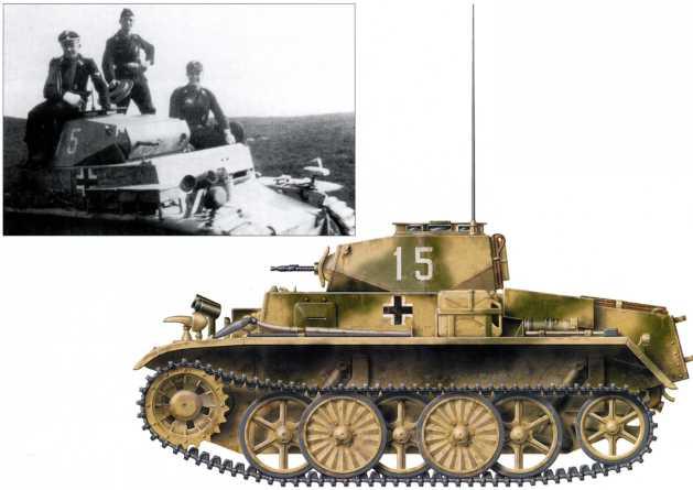 Легкий аэромобильный танк Pz.Kpfw.I Ausf.C (VK 601). Скорее всего он принадлежит разведподразделению 103-го (503-го) батальона тяжелых танков СС. Машина имеет тактический номер «15» и предположительно двухцветный желто-зеленый камуфляж. Весна 1943 года.