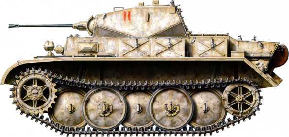 Разведывательный танк Pz.Kpfw.II Ausf.L «Лухс» из 4-го разведывательного батальона 4-й танковой дивизии. Машина имеет тактический номер «11» красного цвета, а окрашена желтым красителем Dunkel Gelb, на который уже нанесена белая смывающаяся краска. Территория Белоруссии, начало 1944 года.