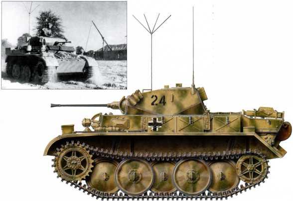 Разведывательный танк Pz.Kpfw.II Ausf.L «Лухс», принадлежащий 4-му разведбатальону 4-й танковой дивизии. На башне машины нанесен тактический номер «24», сам танк имеет желто- зеленый камуфляж. Этот «Лухс», как и другие ему подобные машины на советско-германском фронте оснащен специальным допоборудованием: особым бронелистом и отсекателем осколков в передней части бронекорпуса. Осень 1943 года.