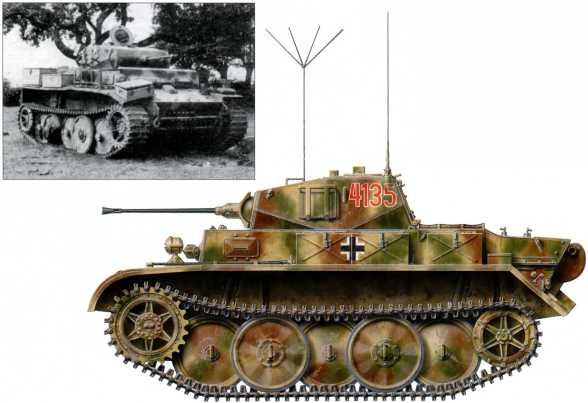 Разведывательный танк Pz.Kpfw.ll Ausf.L «Лухс» из 116-й танковой дивизии вермахта. Он имеет четырехзначный номер «4135» красного цвета с белой окантовкой, также у него отсутствует дополнительный 20-мм бронелист в передней части корпуса. Западный фронт, лето 1944 года.