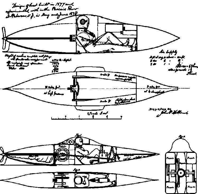 Проект подводной байдарки Холланда (1875г.)