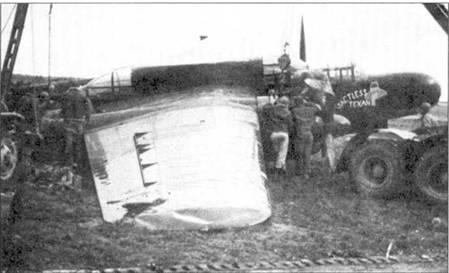 «TACTLESS TEXAN» — P-61А серийный номер 42-5577 из 422 NFS. Самолет получил повреждения при посадке на аэродроме Мопертю, Франция: сломана правая основная опора шасси, погнуты лопасти воздушного винта и смята законцовка правой плоскости крыла.
