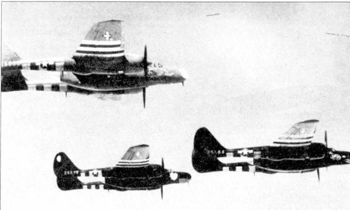 Тройка P-61A из 425 NFS в полете над Францией, лето 1944г. Все самолеты имеют различную окраску. «Husslin' Hussey», P-61A-5 серийный номер 42-5536, окрашен по грязно-оливковой/нейтрально-серой схеме; «Lovely Lady», P-61А-10 серийный но мер 42-5573, окрашен глянцевой черной краской, но фюзеляж ниже обтекателя РЛС — светлый; «Jukin' Judy», P-61А-5 серийный номер 42-5564, целиком глянцевый черный, в носовой чисти фюзеляжа красной и белой красками нарисована акулья пасть.