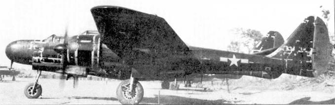 P-61A-10 серийный номер 42-39349 из 427 NFS, Мийткийна, Бирма, январь 1945г. Черная краска во многих местах облезла до металла.