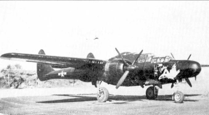 Целиком окрашенный в черный цвет истребитель P-61B из 422 NFS сфотографирован на передовом аэродроме Марстон во Франции в 1945г. На борту носовой части фюзеляжа написано имя машины: «LITTLE AUDREY».