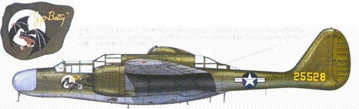 P-61A (серийный номер 42-5528) с собственным именем «Jap Butty» из 6 NFS USAAF, Тихий океан. Первые серийные истребители P-61A окрашивались сверху в грязно-оливковый (№21) цвет. Снизу — в нейтральный серый (.№23). Краска в соленом воздухе Тихого океана быстро облезала. Перед перелетом на Сайпан в июне 1944г. вместо пулеметной турели был установлен дополнительный фюзеляжный топливный бак.