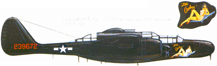 P-61B из 422 NFS, Франция, 1945г. Самолет имеет собственное имя «Little Aтdrey».