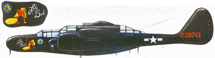«The Lady in The Dark» — P-61B из 548 NFS. Нa этой машине в августе 1945г. были одержаны две последние для экипажей «Вдов» в годы второй мировой воины победы.
