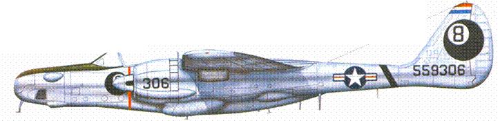 Серийный фоторазведчик F-15A «Репортер», в 1948г. самолет состоял на вооружении 8 PRS USAAF, эскадрилья дислоцировалась на авиабазе Джонсон, Япония. Самолет не окрашен, перед фонарем кабины и на внутренних сторонах мотогондол нанесены грязно-оливковой краской антибликовые покрытия.