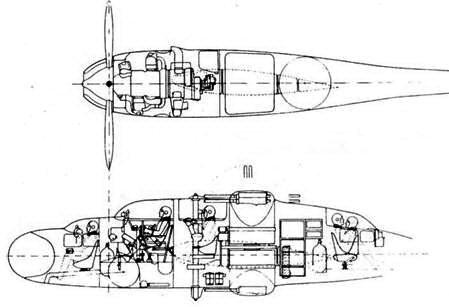 Компоновка центральной гондолы, проект, датированный 14 ноября 1940г.